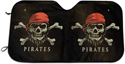 Pirate Skull Auto Sun Shade for Car SUV Truck 27.5 X 51 Inch, Foldable Auto Window Sunshade,Blocks Uv Rays to Keep Your Vehicle Cool for Windshield