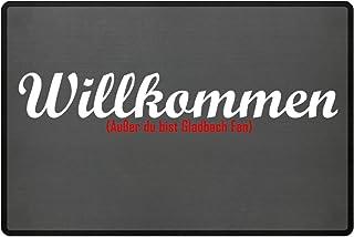 PlimPlom Fußmatte Anti Gladbach in grau - Lustige Fußball Schmutzfangmatte mit Statement für Dein Zuhause aus Polypropylen mit Rutschfester Unterseite