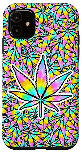 bud phone cases iPhone 11 Tie Dye Phone Case Weed Leaf Trippy Marijuana Print Cannabis Case