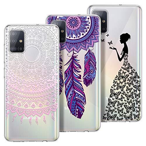 Yokata Kompatibel mit Samsung Galaxy A51 Hülle Silikon Transparent Durchsichtig Handyhülle Schutzhülle Ultra Dünn Stoßfest Muster Case Cover [3 Pack] - Mandala + Traumfänger + Mädchen Schmetterling