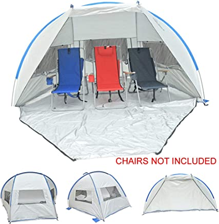 Solar Guard Jumbo 9 ft. Deluxe Beach Shelter Sun Shade Tent Canpy with Large Ventilation Panels Door - UPF 120+