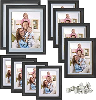 Giftgarden Multi Picture Frames Set Black Photo Frame for Multiple Photos, 10 Pcs, Two 8x10, Four 4x6, Four 5x7