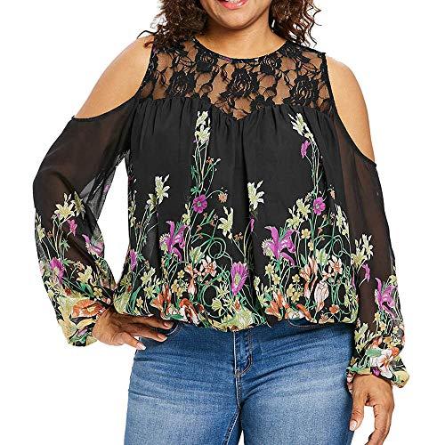 Große Größe drucken Off Shoulder winter bluse schnür aufnäher spitzenblusen YunYoud luftige blusen damen oberteil