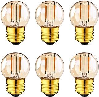 LEDストリングライト用LED装飾電球 G40ミニボール球形LEDフィラメント電球 LEDバルブ E26口金非調光対応発光角360°1W 100Lm 6個入り2200K電球色鍍金ガラス レトロな雰囲気重視