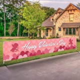 Valentines Day Banner Happy Valentine's Day Decorations Flag Hanging Huge Sign Holiday Party Supplies Love Heart Cupid Home Decor for Store,Outdoor,Indoor,Yard,Garden,Porch,Lawn