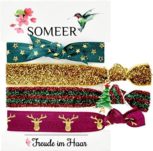 SOMEER Haargummi (elastisch und schonend zum Haar) | Armband (Festival) | inkl. Charm-Anhänger (Weihnachts-Mädchen (Rot, Grün, Gold))