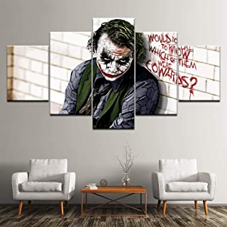 Canvas Painting Batman Joker Dark Knight 5 Pieces Wall Art Painting Modular Wallpapers Poster Print for Living Room Home Decor(Size 1)