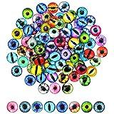 100 Piezas Cristal Muñeca Ojos, 12mm, Ojo de Muñeca para Juguete, Redondo Gato Ojo, Muñeca Ojos Manualidades, DIY Ojos Accesorio para Hacer Joyas o Hacer Ojo de Muñecas, los Artes de la Joyería