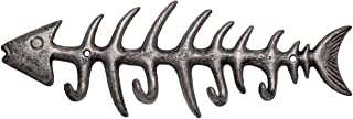 "Comfify Decorative Fish Bones Wall Mount Towel Rack Stylish Cast Iron Hanger w/ 4 ""Fish"" Hooks 