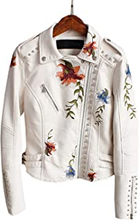 Women's Floral Embroidered Faux Leather Moto PU Jacket Coat