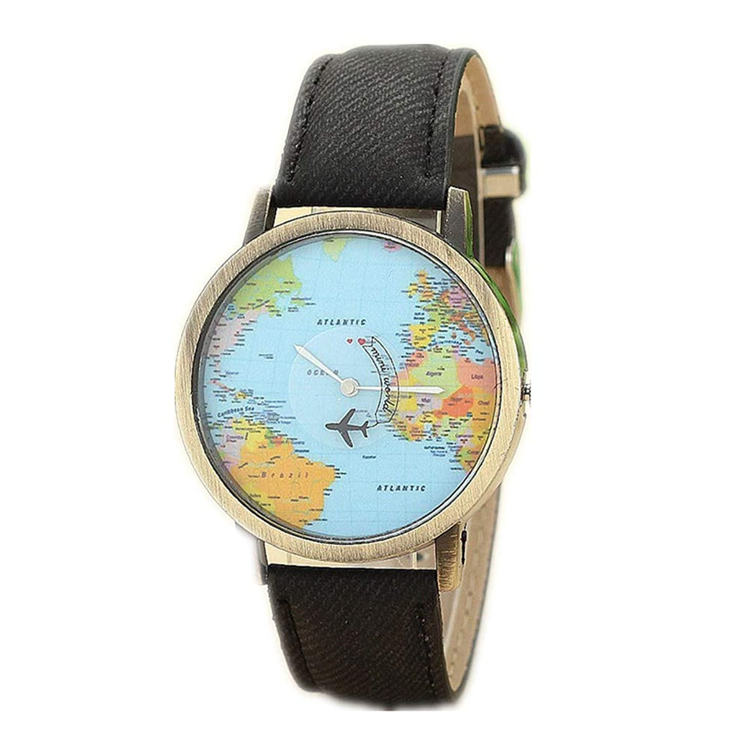 Womens Global Travel by Plane Map Watches Quealent Clearance Ladies Watches Female Watches Denim Fabric Wrist Watches