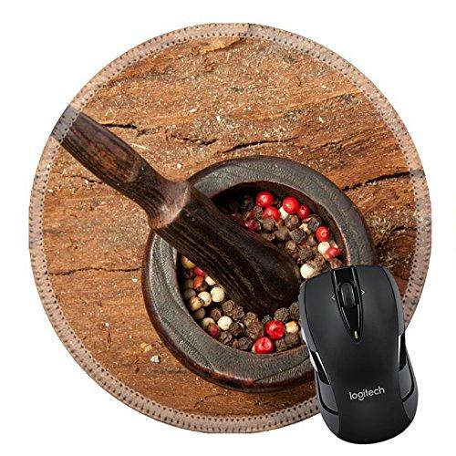 MSD Naturkautschuk Mousepad rund Maus Pad/Matte: 8356161Pfeffer S MIX in der Altem Holz Mörser mit Stößel