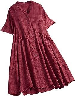 Women V-neck Short Sleeve Solid Long Dress ❀ Ladies Vintage Casual Plus Size Maxi Dress Fashion Button Dress