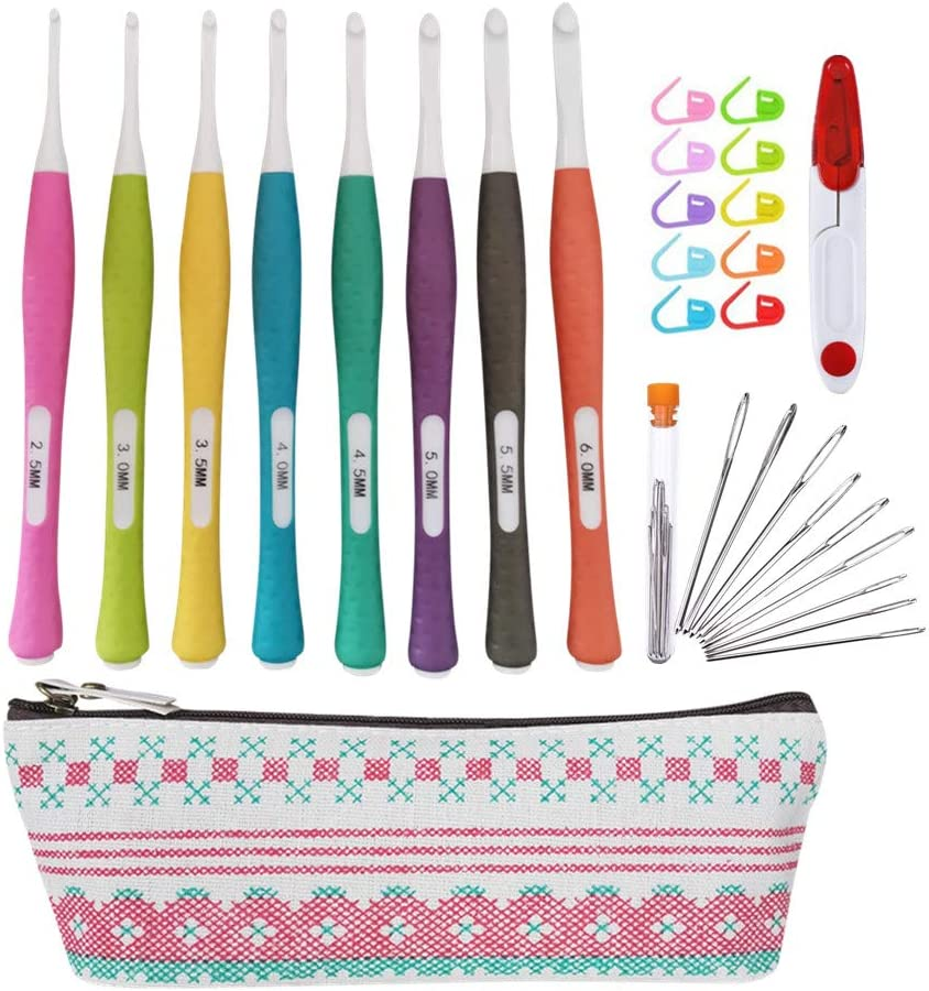 Safety and trust New Ergonomic Crochet Hooks Set with Storage 8 Croche Size Selling and selling Case