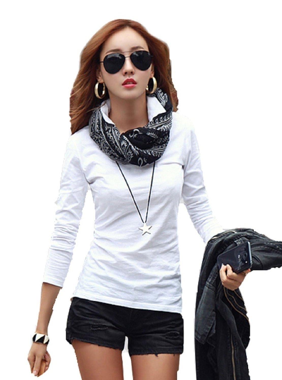 ロイヤルパイン(Royal Pine) Vネック 衿付き 美ライン 長袖 Tシャツ カットソー ポロシャツ レディース 4色 4サイズ