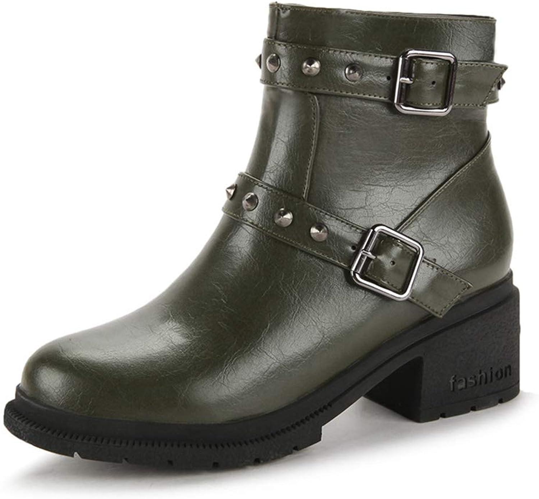 CYBLING Women's Winter Short Martin Boots Rivet Buckle Strap Fur shoes Block Heel Ankle Booties