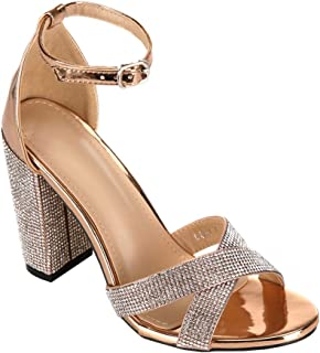 ARIES Womens Ankle Strap Chunky Block High Heel Sandals Cute high Heels Gold Size: 9