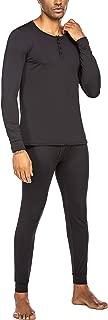 Men's Thermal Underwear Ultra Soft Microfiber Fleece Lined Long Johns Set Base Layer Thermal Henley Top & Bottom Sets