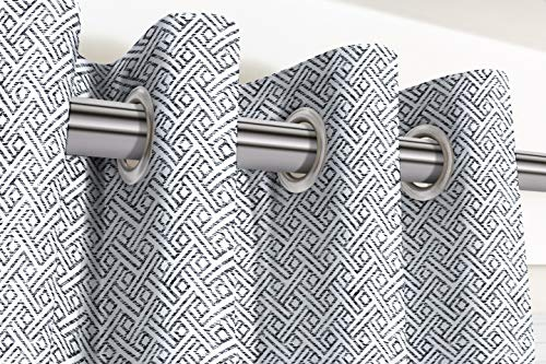 McAlister Textiles Monterrey - Cortinas de 2 paneles, hechas a medida, diseño geométrico en blanco y negro, hechas a pedido, cortinas y cortinas, plisadas de algodón, ancho 167 cm x 182 cm