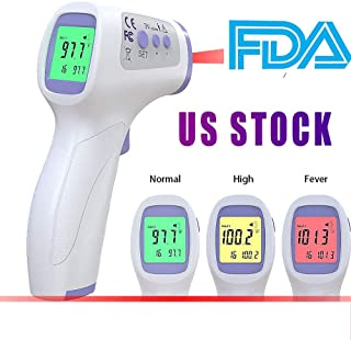 Forehead Thermometer Infrared Thermometer for Adult Baby Kid, Ear and Forehead Function with Fever Alarm and Memory Function Accurate Fast Temperature Gun Non-Contact Measurement