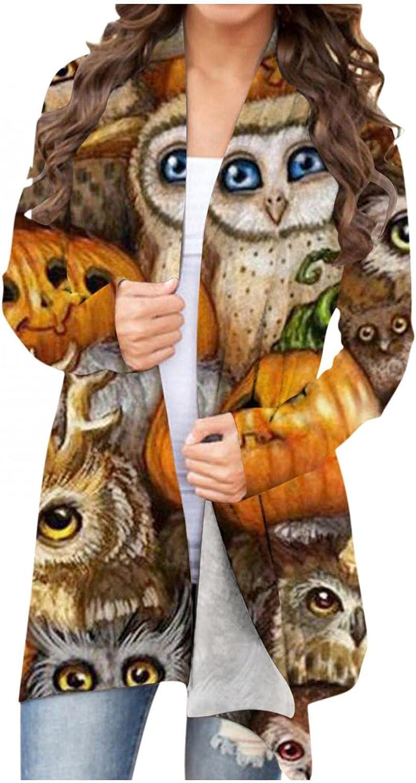 Womens Halloween Coat Funny Animal Pumpkin Print Sweaters Long Sleeve Open Front Cardigan Blouse
