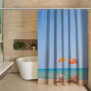 Lohebhuic Seaside Professional Shower Curtain Beach Chair Umbrella on The Beach Leisure Time Tourist Attractions Photo Print Decorative Bathroom Curtains W63 x L70 Inch Turquoise Beige