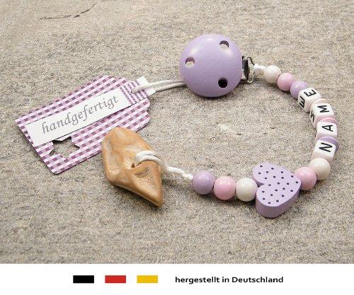 kleinerStorch Veilchenwurzel an Schnullerkette mit Namen - natürliche Zahnungshilfe Beißring für Babys - Schnullerhalter mit Wunschnamen - Mädchen Motiv Herz in Flieder