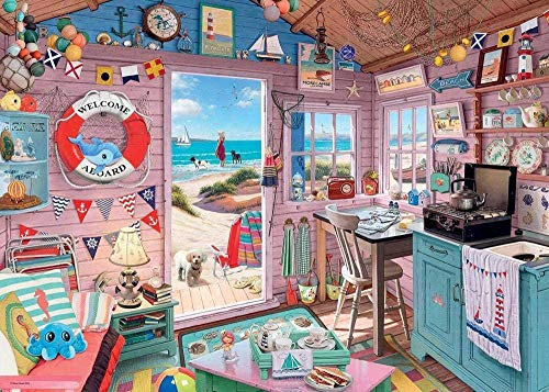 Ffooxxii 1000 Pieces Jigsaw Puzzles for Adults & Children Kids, Themes Puzzle Sets for Family, Educational Games, Wood Puzzles - Beach Hut