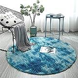 ZHOUZEKAI Alfombra Redonda, Alfombra Antideslizante para el hogar, Adecuado para la decoración de Salas de Estar y dormitorios alfombras oscuras y claras (Azul Marino, 100 cm)