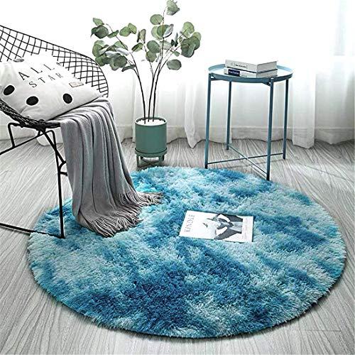 ZHOUZEKAI Alfombra Redonda, Alfombra Antideslizante para el hogar, Adecuado para la decoración de Salas de Estar y dormitorios alfombras oscuras y claras (Azul Marino, 120cm)