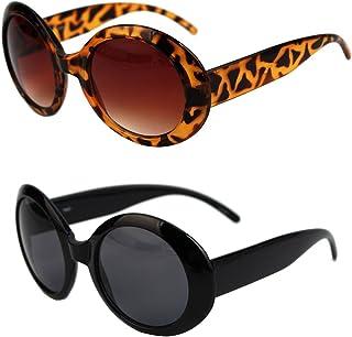 fcca0e758f Pop Fashionwear Womens Fashion Circle Round Jackie O Bold Chic Sunglasses  P547 (2 Pc Black