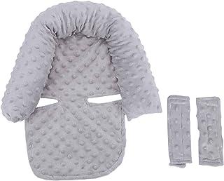 Inserto de asiento de coche para bebés cómodo engrosado para bebés (gris/rosa claro)(gray, Baby headrest)