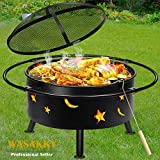 """Outdoor Fire Pits🔥Wood Burning Grill - 30"""" Round Steel Deep Bowl Firepit - Backyard Cosmic,Stars and Moons Firepit 2-in-1 for Outside Patio Cooking BBQ,Black"""