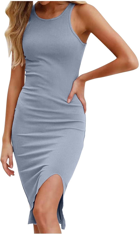 Women's Solid Sexy Sleeveless Tank Tops Short Romper Casual Bodysuit Slim Tight Slit Dress