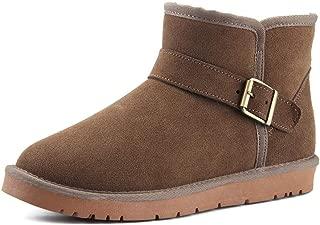 AMAZACER Men's and Women's Stylish Snow Boots Perfunctory Antirust Alloy Buttons Winter Fleece Inside Home Shoes (Color : Chestnut Color, Size : 6.5 UK) (Color : Khaki, Size : 8 UK)