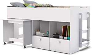 Habeig Children's Bed, High Bed with Desk on Wheels and 2 Stairs Combination Bed, 90 x 200 cm, White