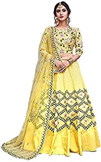 Indian Dresses Store Lehenga Style Women's Embroidered Taffeta Satin Lehenga Choli with Blouse Piece (Yellow_Panther,Free Size)