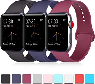 Pack 3 Compatible with Apple Watch Band 38mm 40mm 42mm 44mm, Soft Silicone Band Replacement for Apple iWatch Series 5, Series 4, Series 3, Series 2, Series 1
