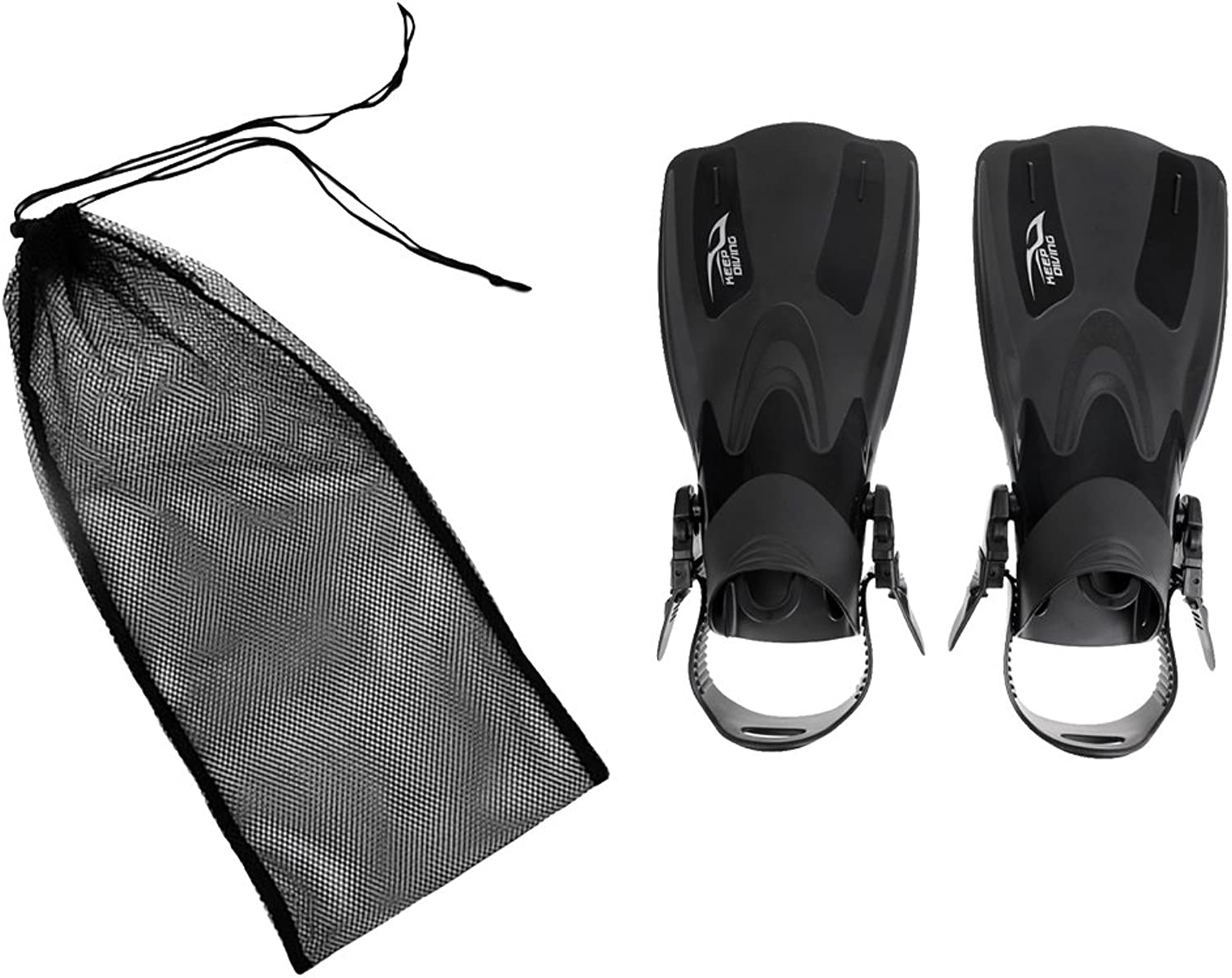 F Fityle 1 Pair Black Large Scuba Diving Fins Flippers + 50 X 23.5cm Strong Mesh Bag