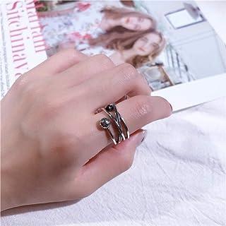 LYWZX Anello Regolabile Donna,Moda Anelli in Argento Sterling 925 Anelli Aperti per Gioielli da Donna per Ragazze
