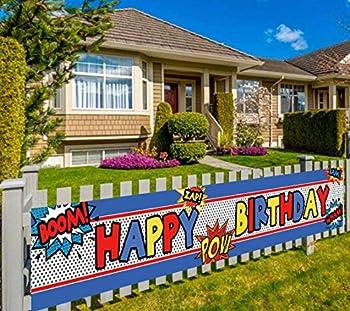 Large Superhero Happy Birthday Banner Superhero Themed Party Supplies Decorations  9.8 x 1.6 feet