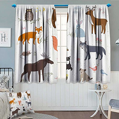 SeptSonne Cabin Decor Blackout Window Curtain Cute Animals in Spring Meadow Childish Woodland Fauna Kids Baby Room Nursery Customized Curtains 52