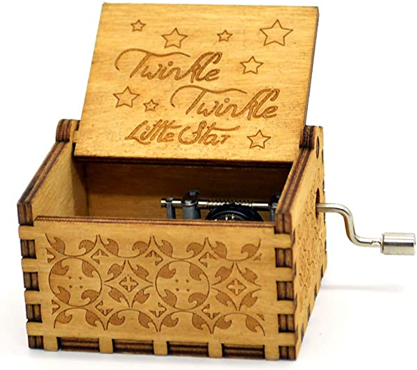 Music Box Twinkle Twinkle Little Stars 18 Note Mechanism Antique Carved Music Box Crafts Melody Castle In Hand Twinkle Twinkle Little Stars