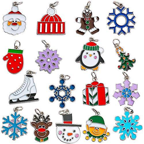 Árbol de navidad diy pendientes accesorios de aleación colgante, 17 adornos navideños colgantes, tamaño mixto 20-22 mm, varios diseños