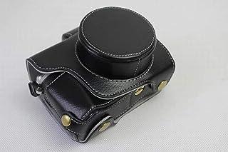 OLYMPUS オリンパス PEN OM-D E-M10 Mark III カメラ バッグ カメラ ケース 本革、WDMART 手で作った本革の全身カメラ保護殻、OLYMPUS オリンパス PEN OM D E M10 Mark III ケース(14-42mmのレンズに適用) 向けの透かし彫りベース+ショルダーストラップ+ミニ収納ケース、防水、防振、携帯型 (ブラック-本革)