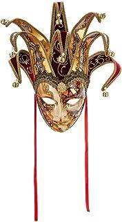 Maschera Decorativa Originale Veneziana Fatta A Mano, Con Volto Di Jolly, Decoro Bizantino Rame E Oro E Punte In Velluto B...