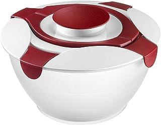 Westmark Salad Butler skål med handtag och dressinghållare, volym: 6,5 liter, Plast, Praktika, Genomskinlig/Vit/Röd, 2422227R