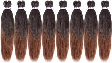 "Ding Dian 8 Packs Pre Stretched Braiding Hair 20"" EZ Braid Synthetic Hair Extensions For Braids Perm Yaki Straight Hair for Crochet Twist(1B/30)"