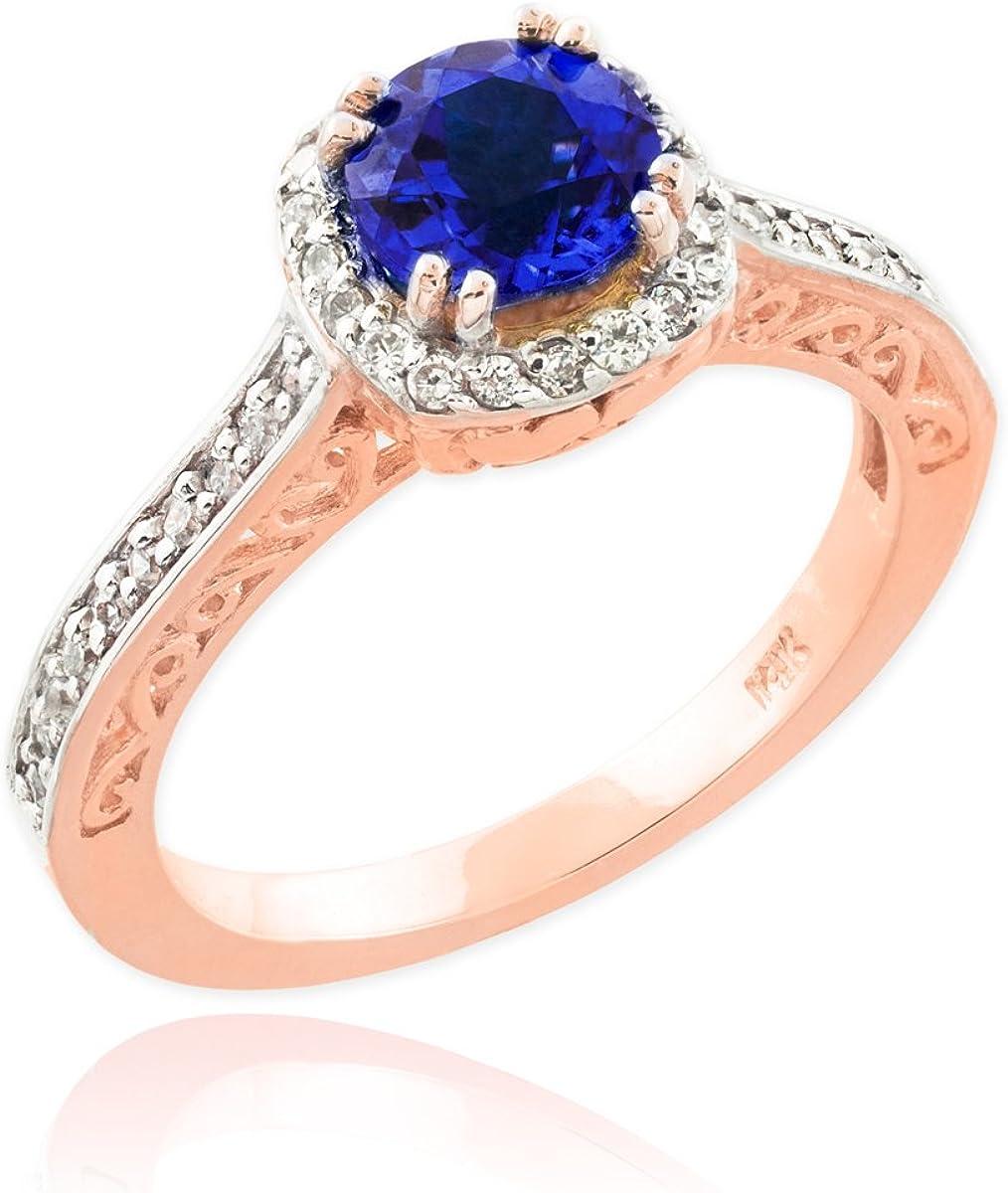 10k Rose Gold Diamond Halo September Birthstone Band Blue Sapphire Engagement Ring (Size 7)