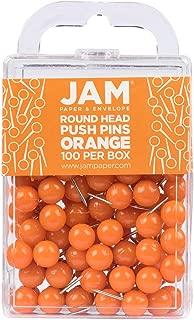 JAM PAPER Colorful Push Pins - Round Head Map Thumb Tacks - Orange Pushpins - 100/Pack